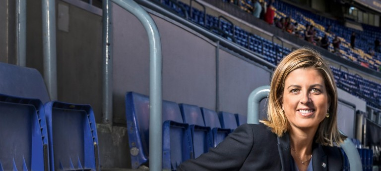 Barça Innovation Hub director Marta Plana sitting in the Camp Nou stadium