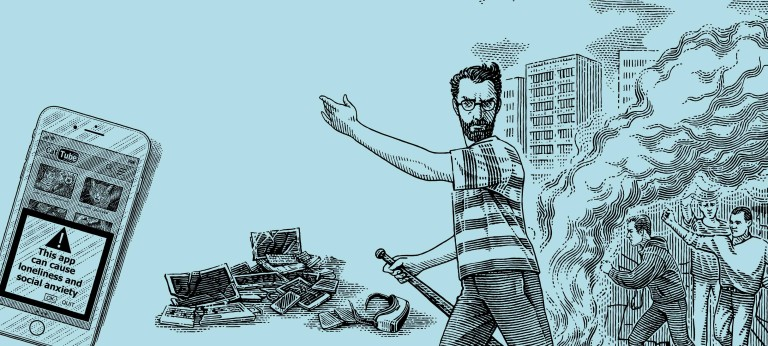 Eine Illustration eines Mannes, der einen Baseballschläger hält und vor einem brennenden Haufen technischer Geräte steht, während er zu einer Gruppe hinter ihm gestikuliert.