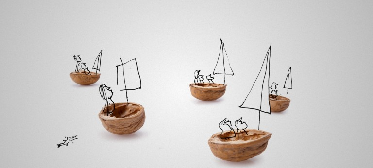 Stick figures sailing in nutshell boats on a neutral background